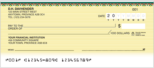Sample Personal Cheque